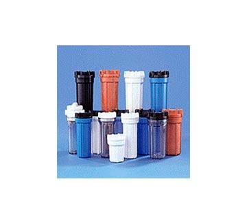 Portafiltros para agua potable: Materiales plásticos, opacos o transparentes, para cartuchos de cualquier material y dimensiones.